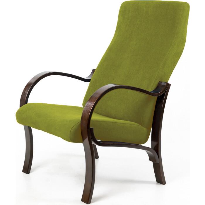 Кресло Мебелик Милан ткань лайм/каркас орех