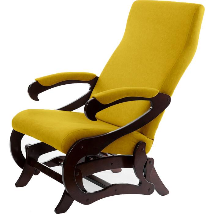 Кресло-маятник Мебелик Сиена ткань желтый/каркас орех