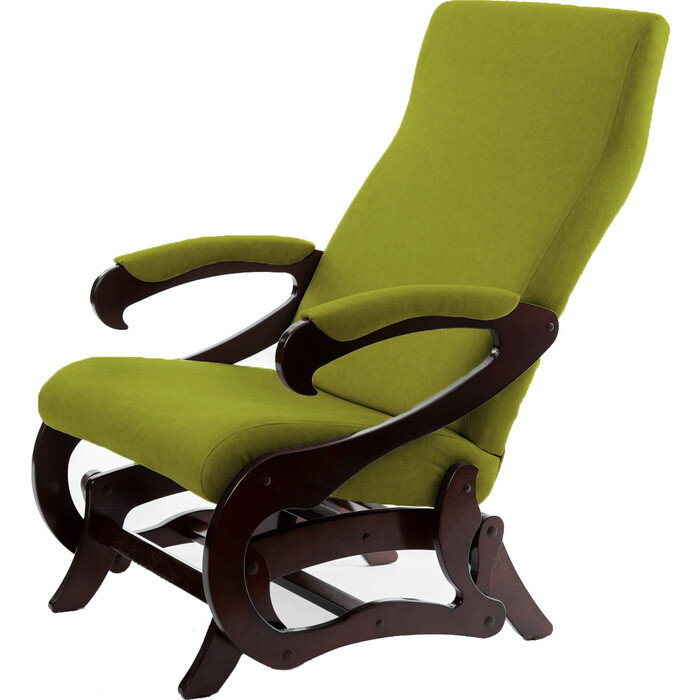 Кресло-маятник Мебелик Сиена ткань лайм/каркас орех