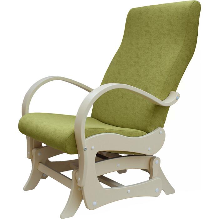 Кресло-маятник Мебелик Турин ткань лайм/каркас дуб шампань