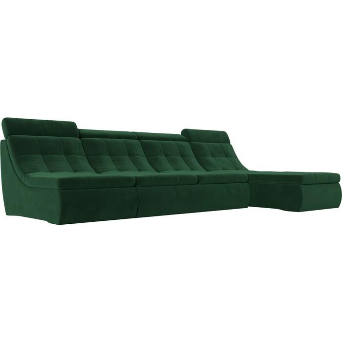 Лига Диванов Угловой модульный диван Холидей Люкс велюр зеленый