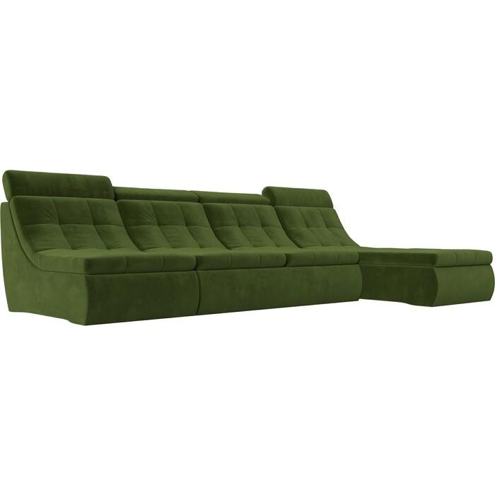 Лига Диванов Угловой модульный диван Холидей Люкс микровельвет зеленый