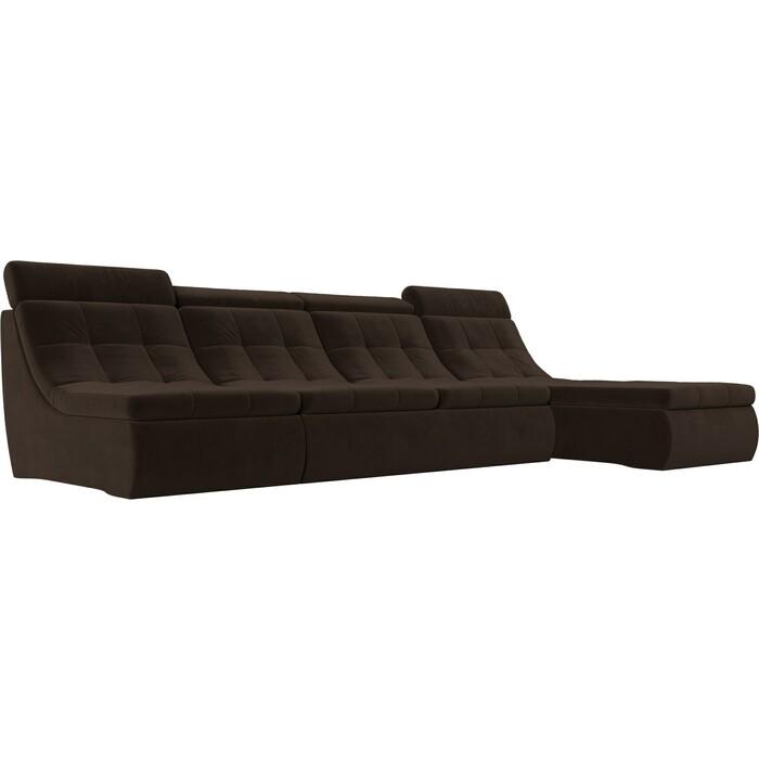 Лига Диванов Угловой модульный диван Холидей Люкс микровельвет коричневый