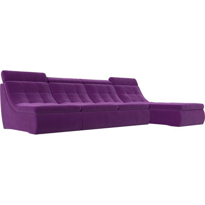 Лига Диванов Угловой модульный диван Холидей Люкс микровельвет фиолетовый