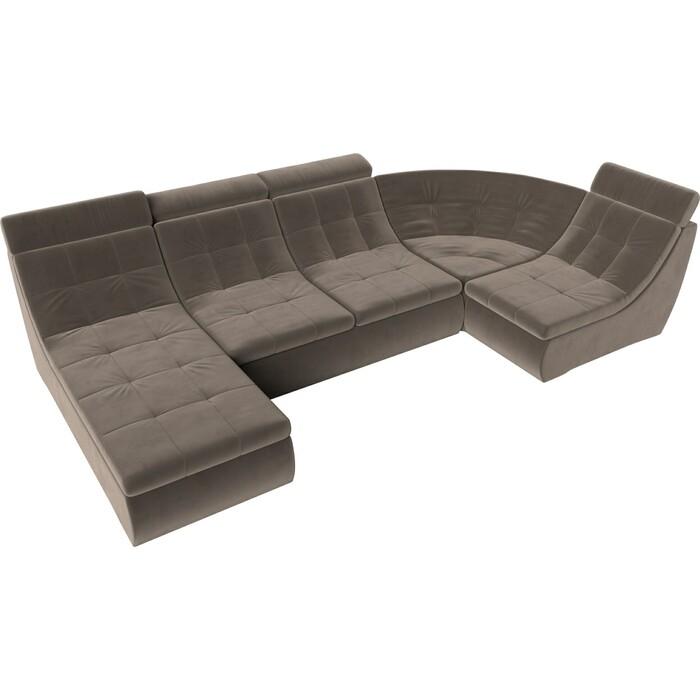 П-образный модульный диван Лига Диванов Холидей Люкс велюр коричневый