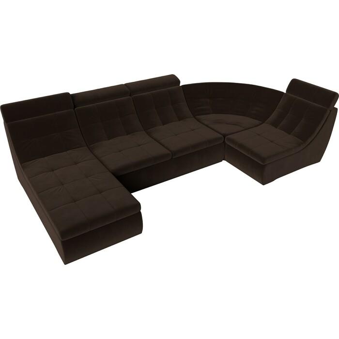 П-образный модульный диван Лига Диванов Холидей Люкс микровельвет коричневый