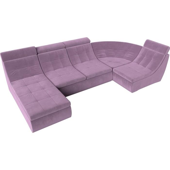 П-образный модульный диван Лига Диванов Холидей Люкс микровельвет сиреневый