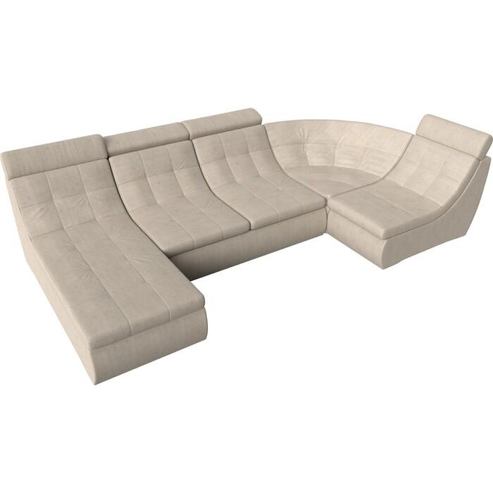 П-образный модульный диван Лига Диванов Холидей Люкс рогожка бежевый