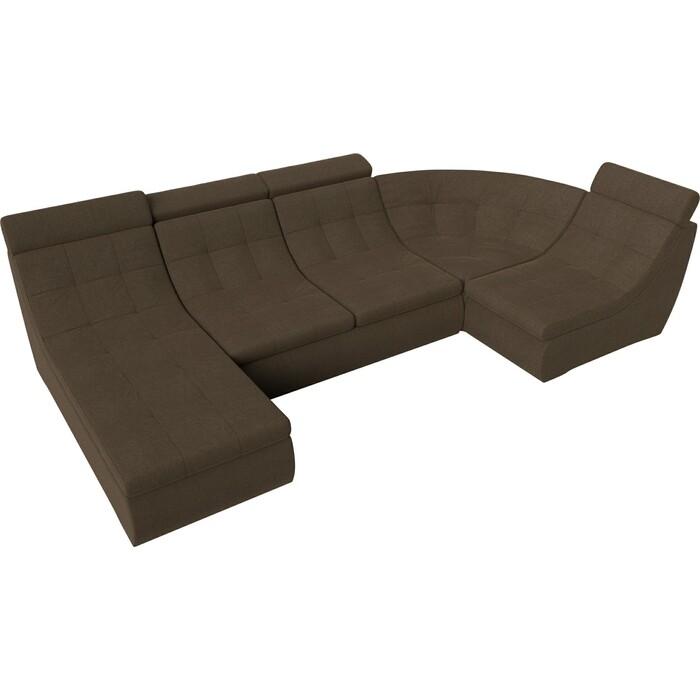 П-образный модульный диван Лига Диванов Холидей Люкс рогожка коричневый