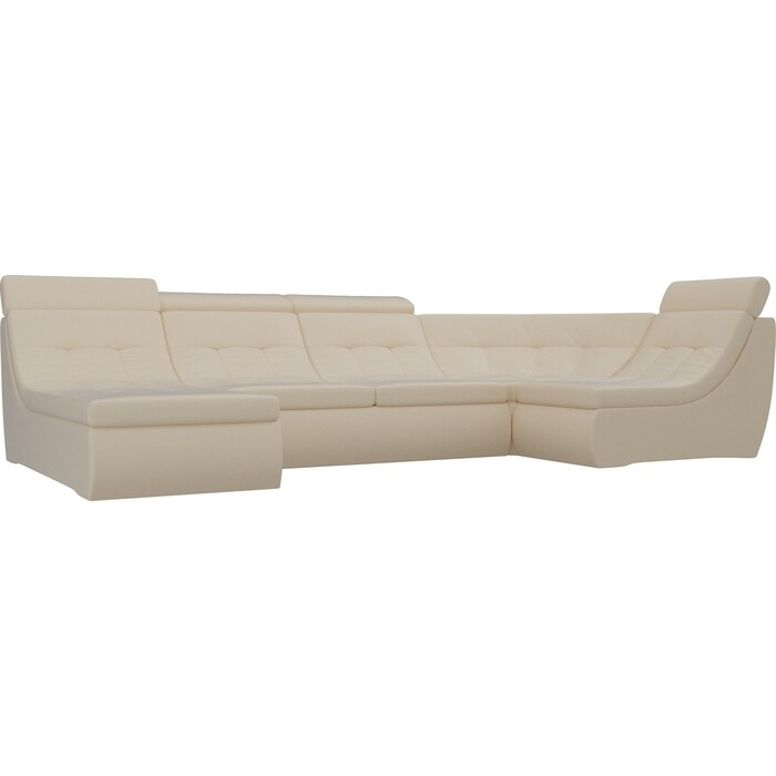 Фото - П-образный модульный диван Лига Диванов Холидей Люкс экокожа бежевый угловой модульный диван лига диванов холидей экокожа бежевый