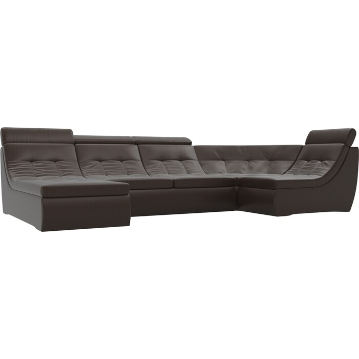 Фото - П-образный модульный диван Лига Диванов Холидей Люкс экокожа коричневый угловой модульный диван лига диванов холидей экокожа бежевый