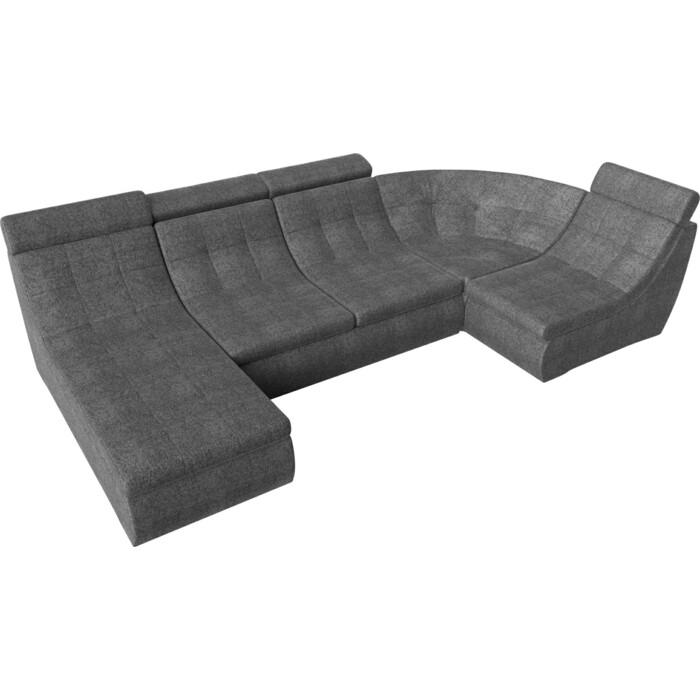Лига Диванов П-образный модульный диван Холидей Люкс рогожка серый