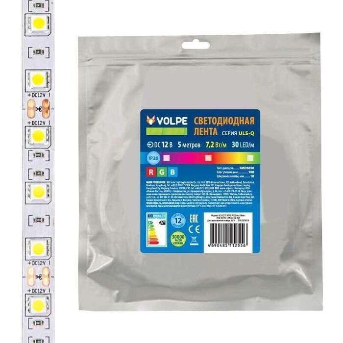Лента Volpe Светодиодная (UL-00004541) 7,2W/m 30LED/m 5050SMD RGB 5M ULS-Q210 5050-30LED/m-10mm-IP20-DC12V-7,2W/m-5M-RGB