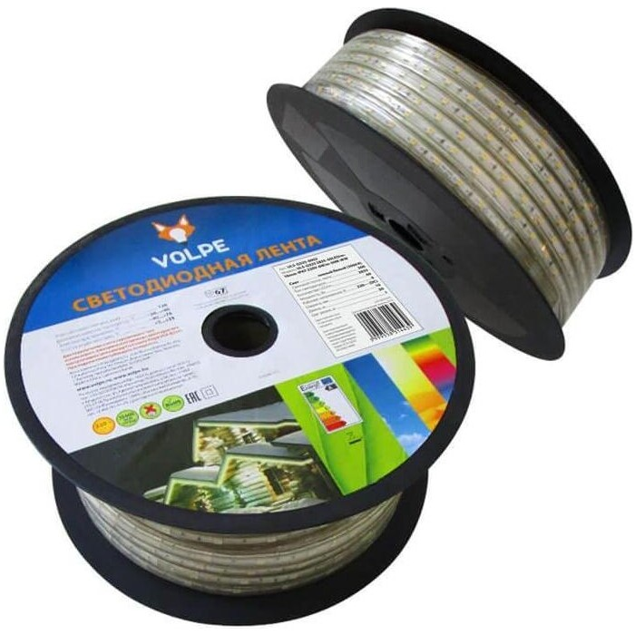 Лента Светодиодная влагозащищенная Volpe (UL-00000864) 6W/m 60LED/m 2835SMD теплый белый 25M ULS-Q325 2835-60LED/m-10mm-IP67-220V-6W/m-25M-WW