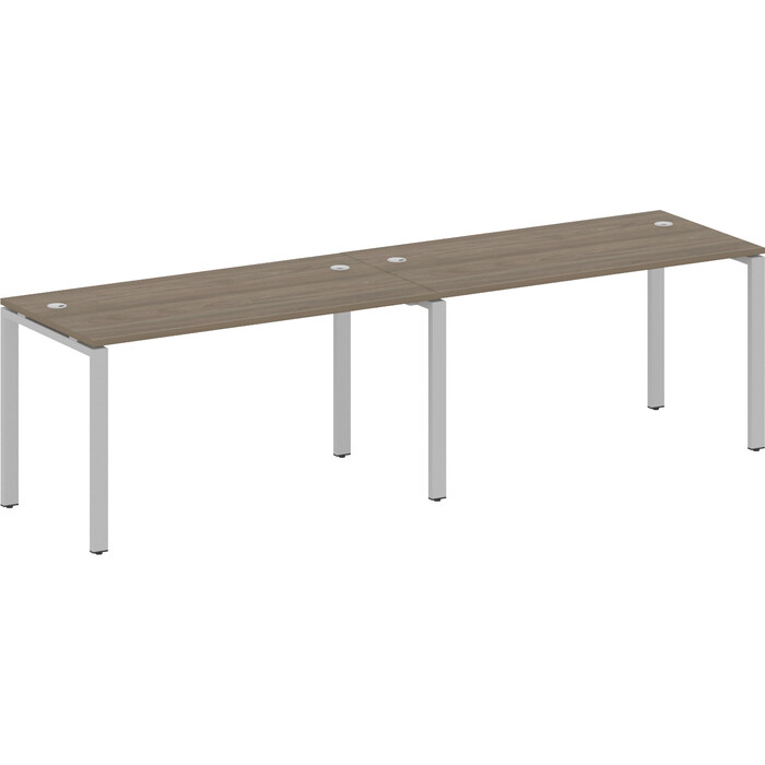 Стол на 2 рабочих места Riva Metal System на П-образном металлокаркасе БП.СМ-2.3 вяз/серый металл 280x72x75 d 12108