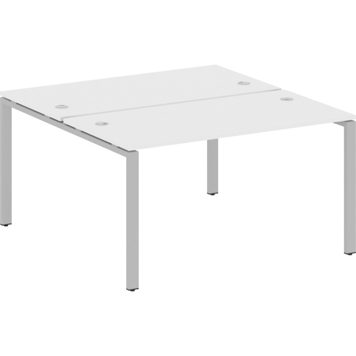 Стол Riva Metal System на П-образном металлокаркасе БП.РАС-СП-2.3 белый/серый металл 140x147,5x75 стол письменный на металлокаркасе riva slim с сп 4 клен антрацит металл 118x72x75 комплект