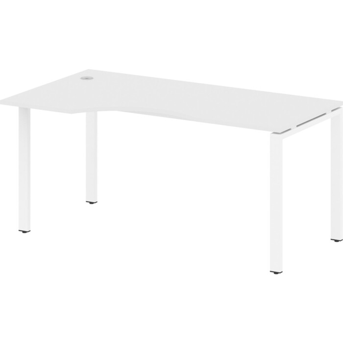 Стол криволинейный Riva Metal System левый на П-образном металлокаркасе БП.СА-1 (L) белый/белый металл 160x90x75