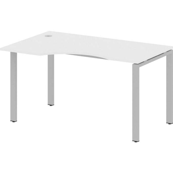 Стол криволинейный Riva Metal System левый на П-образном металлокаркасе БП.СА-2 (L) белый/серый металл 140x90x75