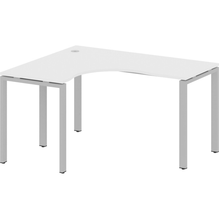 Стол криволинейный Riva Metal System левый на П-образном металлокаркасе БП.СА-3 (L) белый/серый металл 140x120x75