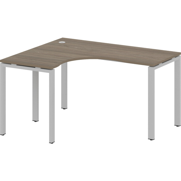 Стол криволинейный Riva Metal System левый на П-образном металлокаркасе БП.СА-3 (L) вяз/серый металл 140x120x75