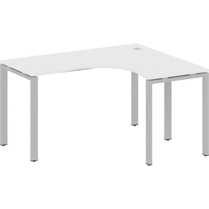 Стол криволинейный Riva Metal System правый на П-образном металлокаркасе БП.СА-3 (R) белый/серый металл 140x120x75 стол письменный на металлокаркасе riva slim с сп 4 клен антрацит металл 118x72x75 комплект