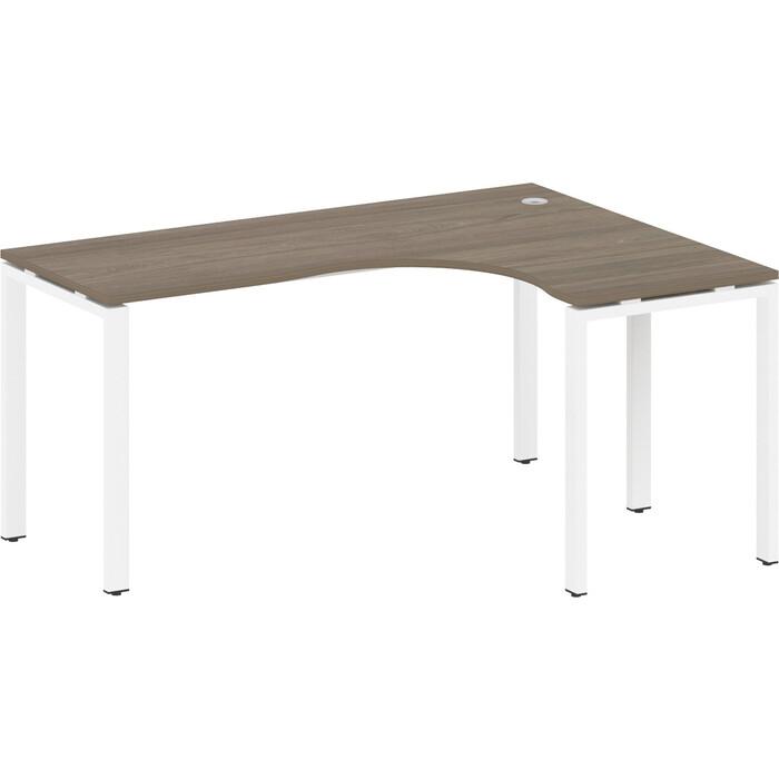 Стол криволинейный Riva Metal System правый на П-образном металлокаркасе БП.СА-4 (R) вяз/белый металл 160x120x75 стол криволинейный riva metal system левый на п образном металлокаркасе бп са 4 l вяз серый металл 160x120x75