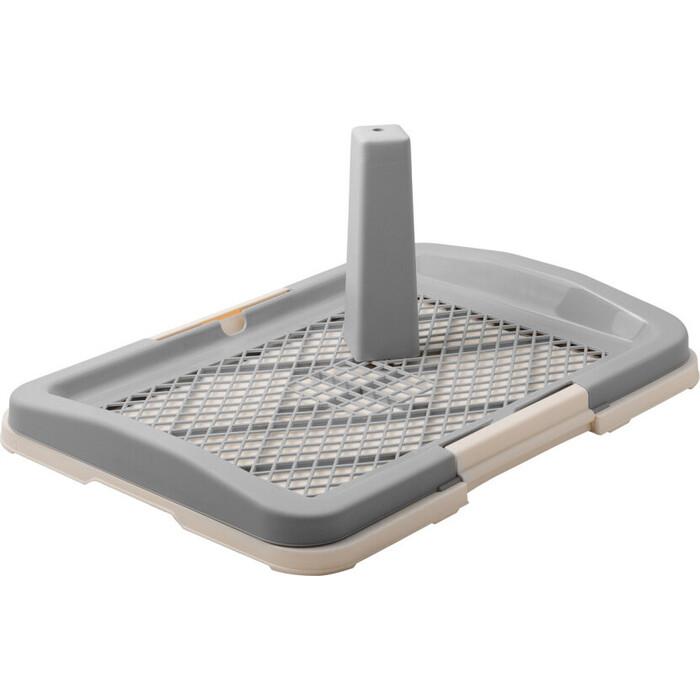 Туалет ZooOne для собак со столбиком 48*35*6(21) см малый (серый) P159-04