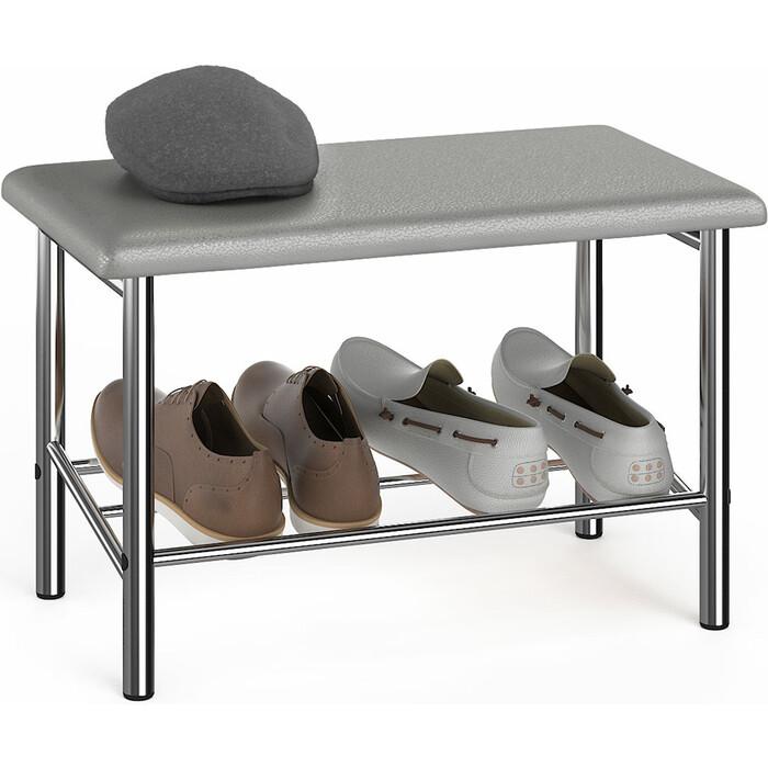 Обувница Delice Самба разборная хромированная, сиденье цвет искусственная кожа №21 серебро