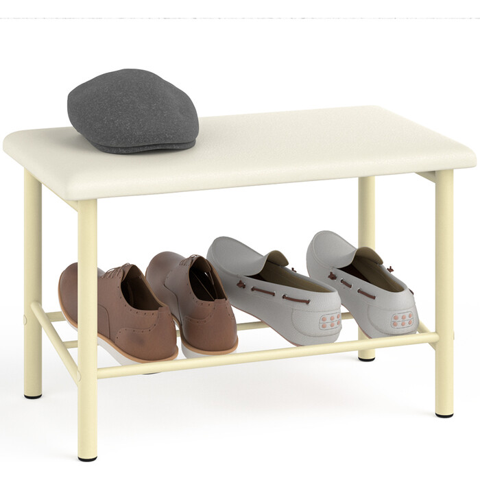 Обувница Delice Самба разборная бежевый супер матовый, сиденье цвет ваниль искусственная кожа