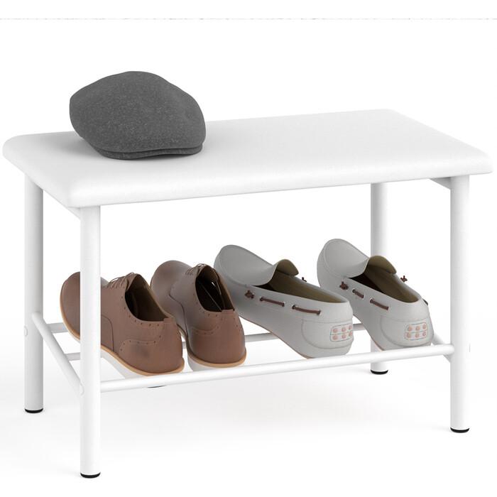 Обувница Delice Самба разборная цвет белый, сиденье белый искусственная кожа