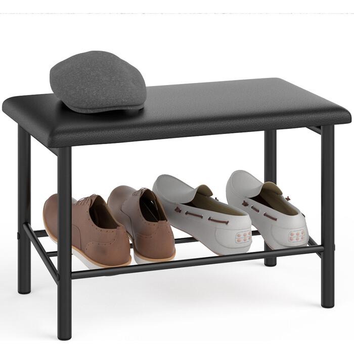 Обувница Delice Самба разборная цвет черный супер матовый, сиденье цвет черный искусственная кожа