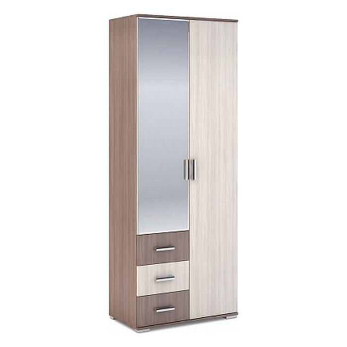 Шкаф 2-створчатый с ящиками Ника ШК-802 шимо темный/шимо светлый 80