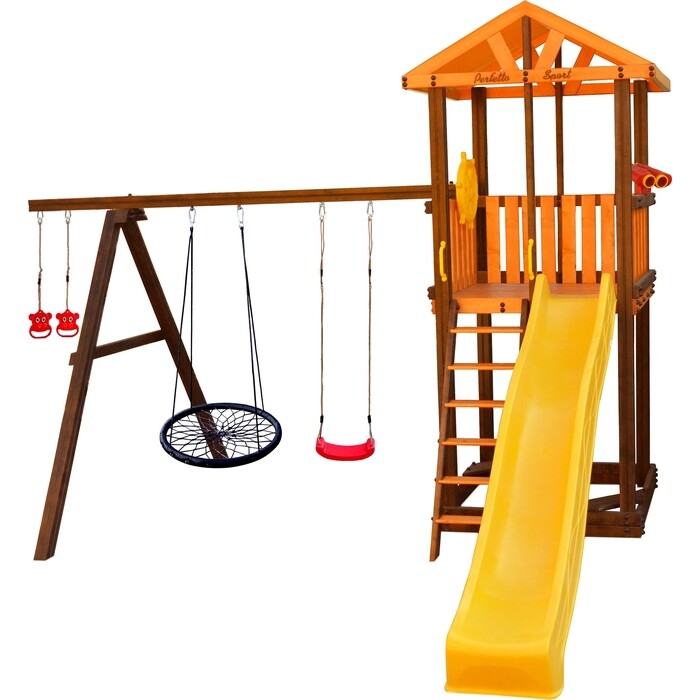 Детский спортивный комплекс PERFETTO SPORT Pitigliano-3 + качели Паутина