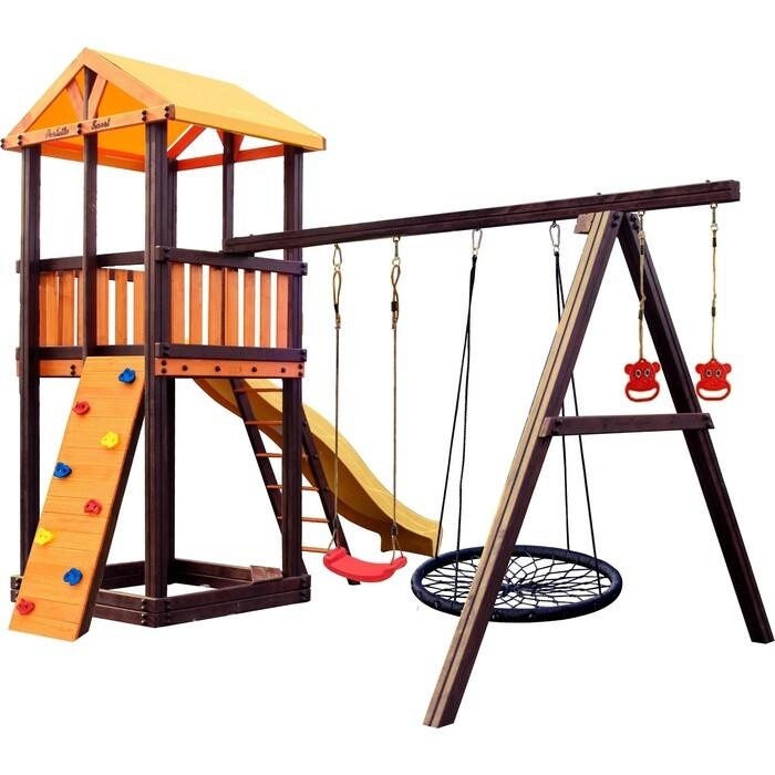 Детский спортивный комплекс PERFETTO SPORT Pitigliano-4 + качели Паутина