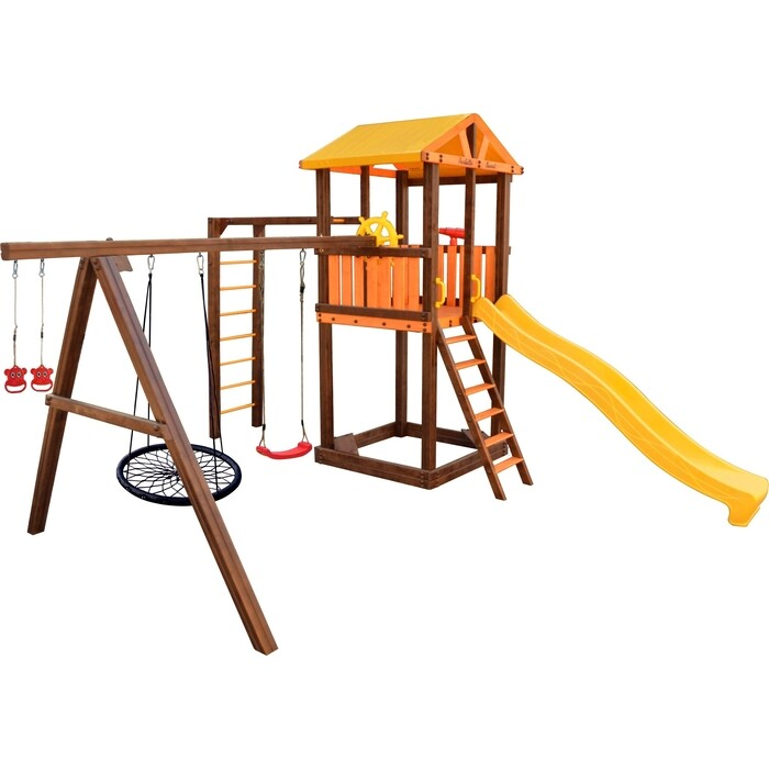 Детский спортивный комплекс PERFETTO SPORT Pitigliano-6 + качели Паутина
