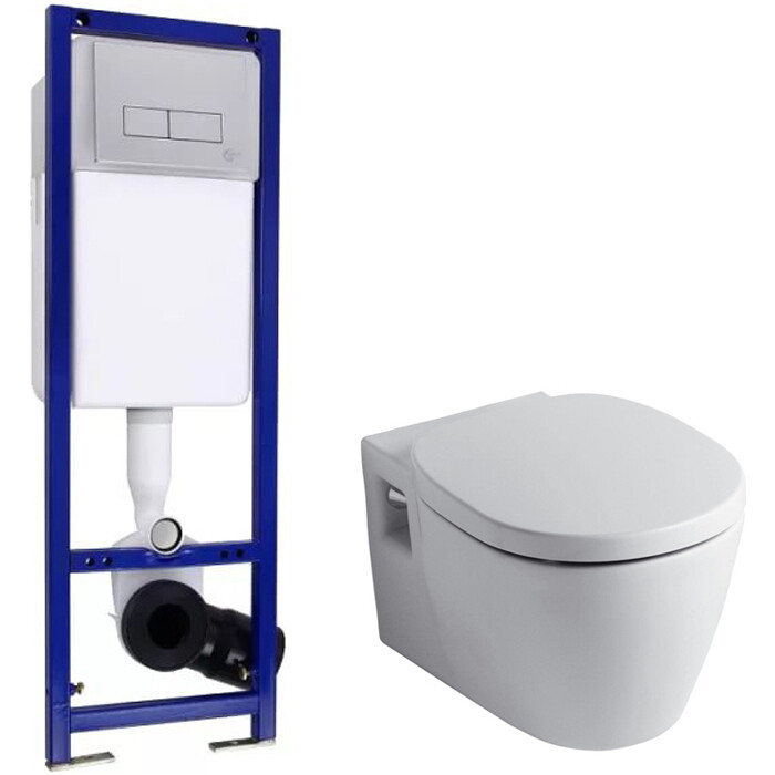 Унитаз подвесной Ideal Standard Set с инсталляцией, сиденьем-микролифт и клавишей смыва (W880101)