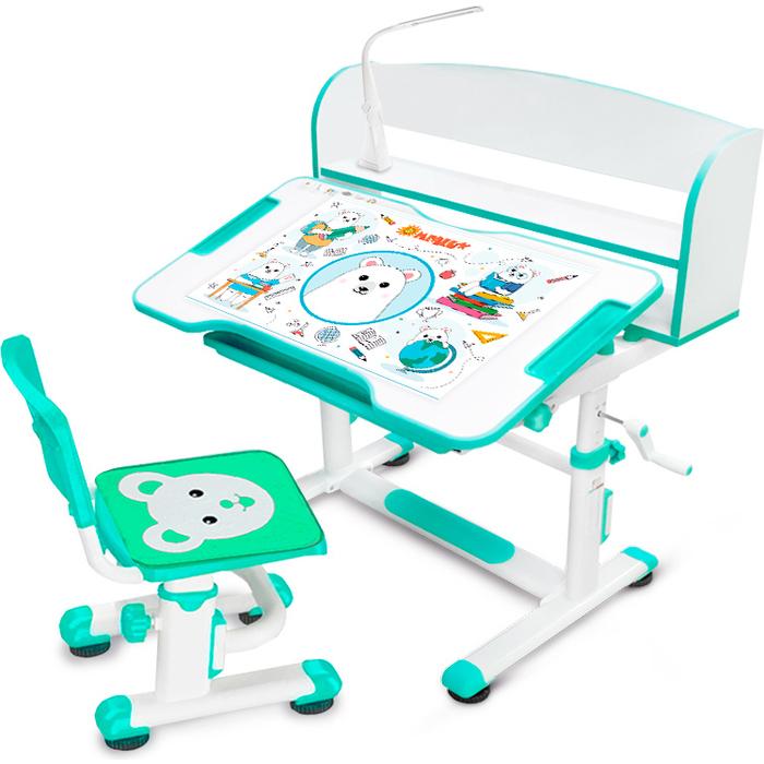 Комплект мебели Mealux (столик + стульчик лампа) BD-10 green столешница белая/пластик зеленый