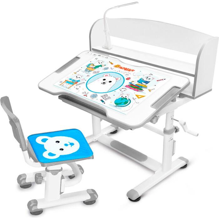 Комплект мебели Mealux (столик + стульчик лампа) BD-10 grey столешница белая/пластик серый