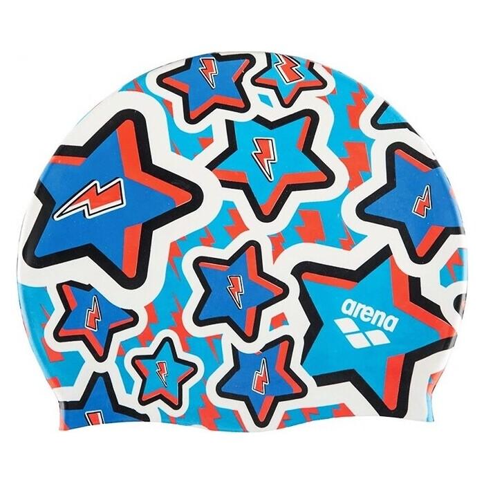 Шапочка для плавания Arena Print Jr Дет., арт. 94171208, синий, принт Frolic силикон
