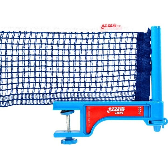 Сетка для настольного тенниса DHS P202, в компл. с пластмас. стойками, синяя