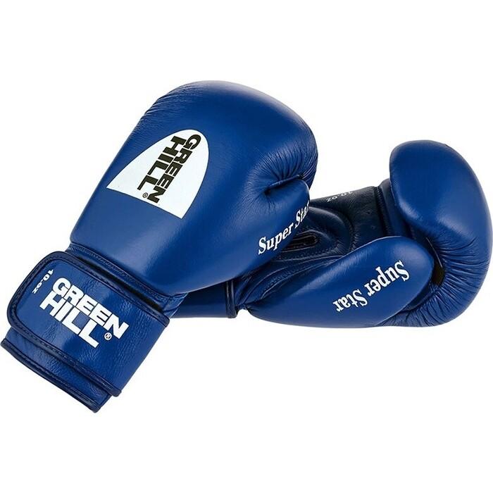 Перчатки боксерские GREEN HILL SUPER STAR арт. BGS-1213c-12-BL, 12 oz, нат. кожа, синие