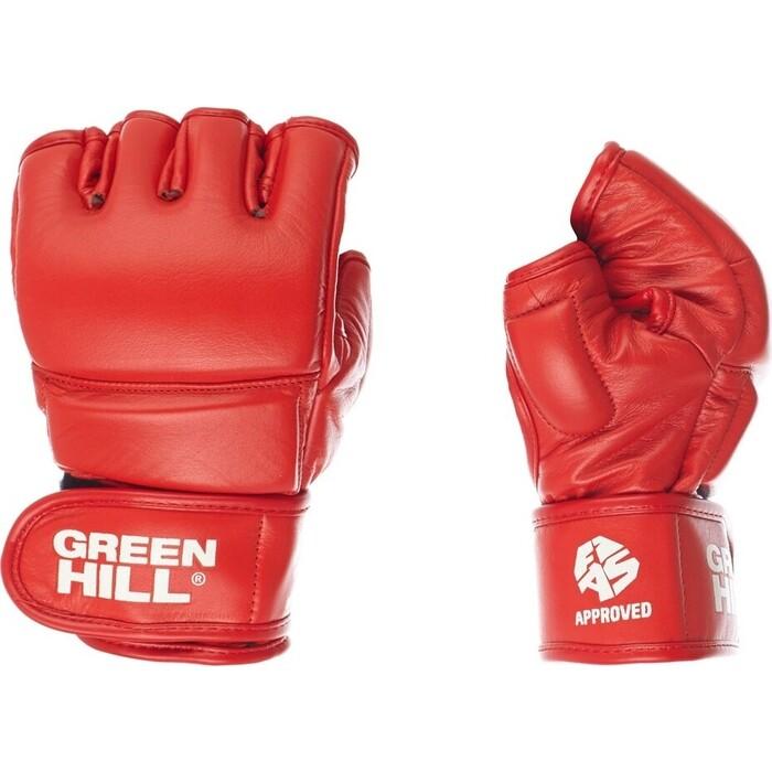 Перчатки для боевого самбо GREEN HILL арт. MMF-0026a-M-RD, р. M, одобр. FIAS, нат. кожа, красные