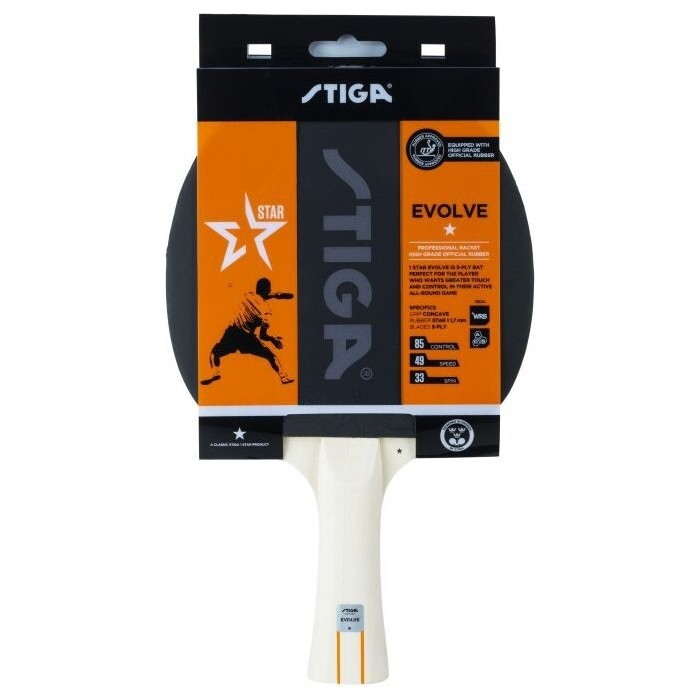 Ракетка для настольного тенниса Stiga Evolve WRB 1*, арт. 1211-8318-01, любит., накл. 1,7мм ITTF, конич. ручка