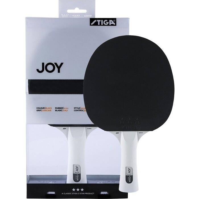Ракетка для настольного тенниса Stiga JOY***, арт. 189701, тренир., накладка 1,9 мм, ITTF, кон. ручка, черная