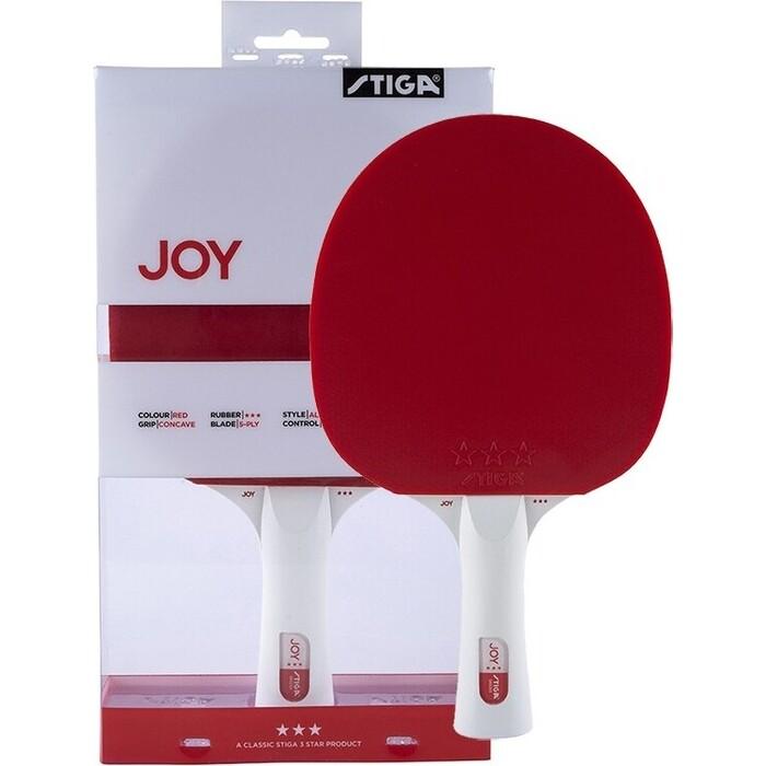 Ракетка для настольного тенниса Stiga JOY***, арт. 189801, тренир., накладка 1,9 мм, ITTF, кон. ручка, красная
