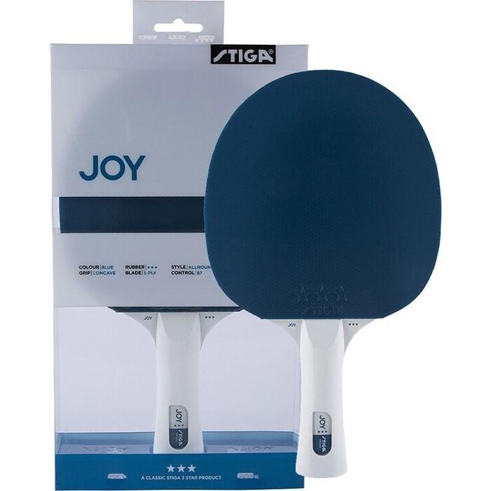 Ракетка для настольного тенниса Stiga JOY***, арт. 189901, тренир., накладка 1,9 мм, ITTF, кон. ручка, темно-синяя