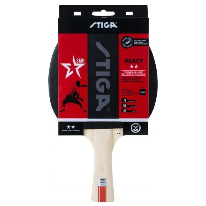 Ракетка для настольного тенниса Stiga React WRB 2**, арт. 1212-8418-01, тренир., накладка 1,9 мм, ITTF, кон. ручка