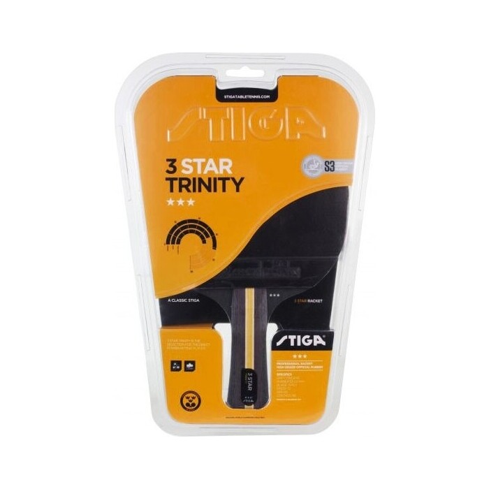 Ракетка для настольного тенниса Stiga Trinity WRB 3***, арт. 1213-3616-01, трениров, накл. 2,0 мм ITTF, конич. ручка