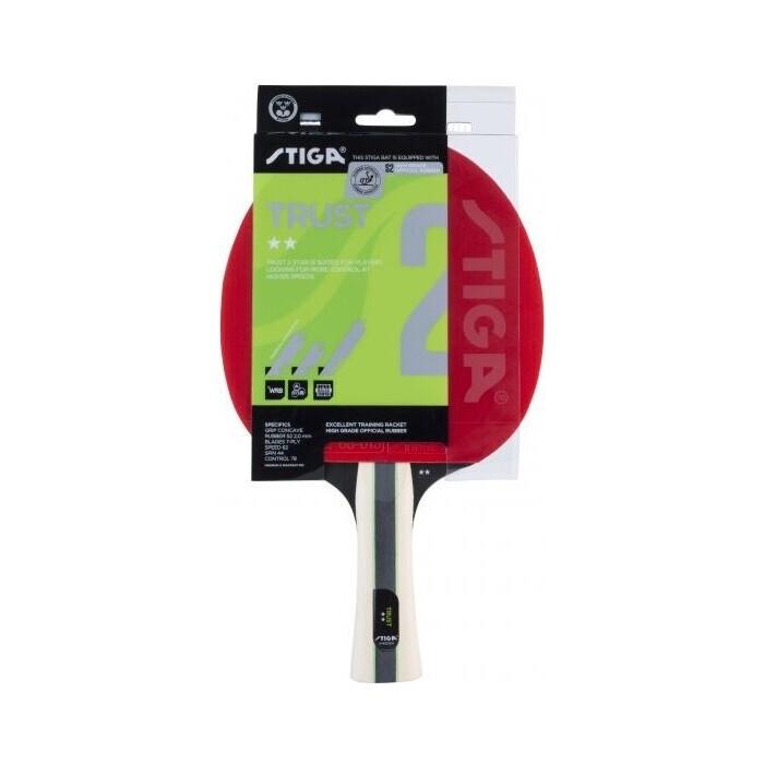 Ракетка для настольного тенниса Stiga Trust WRB 2**, арт. 1212-2117-01,д ля тренир., накладка 2,0 мм, ITTF, кон. ручка