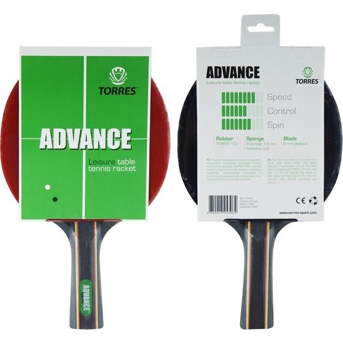 Ракетка для настольного тенниса Torres Advance, арт. TT0004, любителей, накладка 1,8 мм, конич. ручка